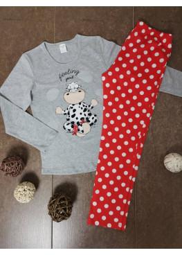 Детска пижама с дълъг ръкав Иватекс 00203 с кравичка в сиво