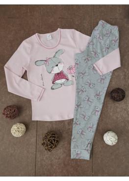 Детска пижама с дълъг ръкав Иватекс 00203 със зайче в розово