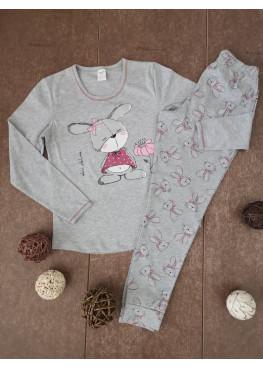 Детска пижама с дълъг ръкав Иватекс 00203 със зайче в сиво