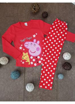 Детска пижама с дълъг ръкав Иватекс 210 с Peppa Pig в червено