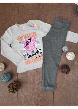 Детска пижама с дълъг ръкав Иватекс 213 с Peppa Pig в сиво