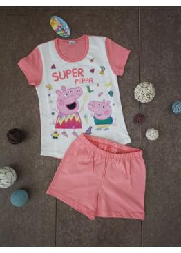 Детска пижама с къс ръкав и късо долнище Иватекс 204 с Пепа Пиг