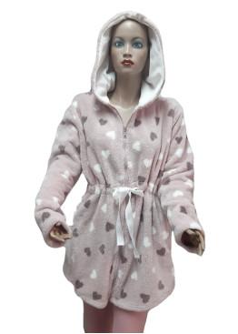 Дамски домашен халат с качулка и цип от велсофт Desislava 4007 на сърца