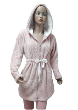 Дамски домашен халат с качулка и цип от велсофт Desislava 4007 в розово