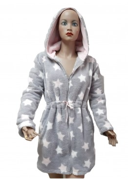 Дамски домашен халат с качулка и цип от велсофт Desislava 4007 в сиво на звезди