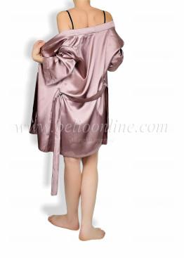 Дамски луксозен къс сатенен халат  6046