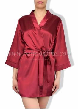 Дамски луксозен къс сатенен халат в кутия 6078