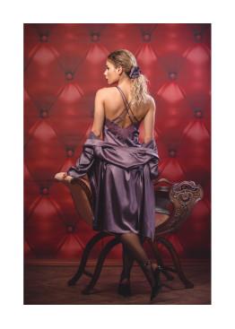 Дамски луксозен сатенен комплект нощница с халат Desislava 1224 лилав