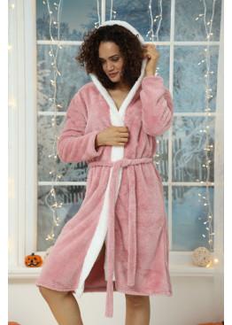 Дамски пухен домашен халат с качулка Ангелче 7985