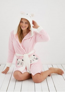 Дамски пухкав халат Коте в розово10007