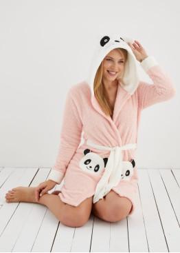 Дамски пухкав халат със сладка панда в цвят праскова 10004