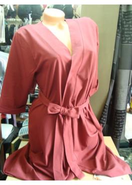 Дамски тънък халат в бордо