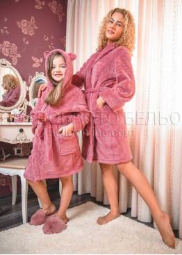 Пухкав плюшен дамски халат с колан и джобове Десислава