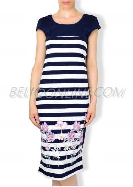 Дълга рокля с райета в синьо и бяло и цветя Иватекс 535