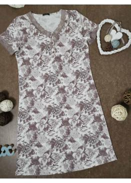 Дамска лятна нощница с къс ръкав и копчета Иватекс 654 на цветя