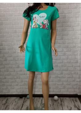 Дамска нощница с къс ръкав с овце Иватекс 646 в зелено