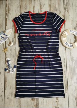 Дамска рокля Иватекс с моряшки мотиви 7910