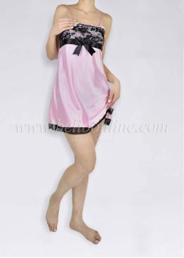 Дамска сатенена нощница с дантела  в розов цвят 6018