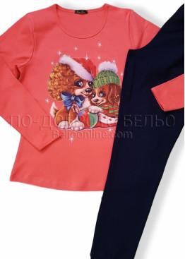 Дамска коледна пижама Иватекс с куенца 7563