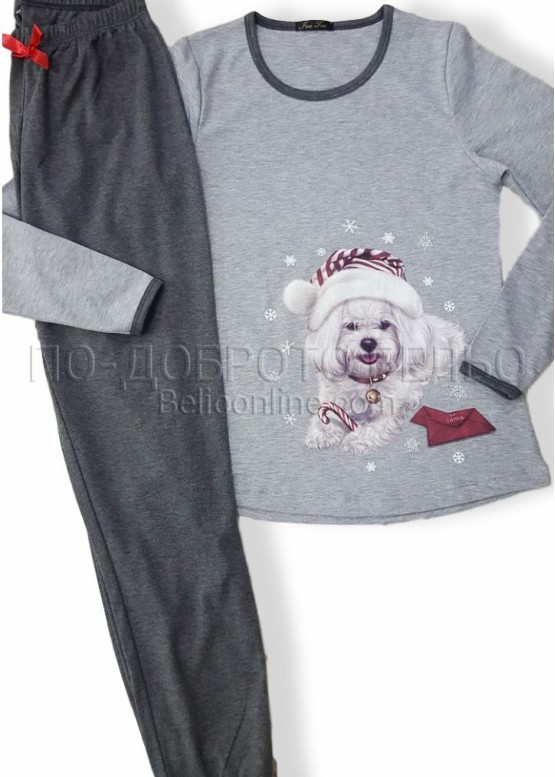 Дамска коледна пижама Иватекс с куенце 7564