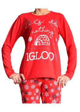 Дамска коледна  пижама RESLEEP 4848 червена