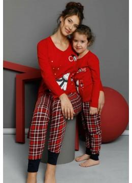 Дамска коледна пижама в червено с карирана долница с маншет 9278 Мечо