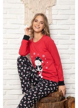 Дамска коледна пижама в червено с пухкав снежен човек 9281