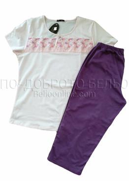 Дамска лятна памучна пижама с къс ръкав с дантела Иватекс 8307