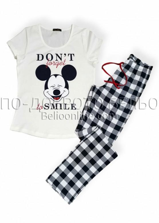 Дамска лятна пижама Иватекс 8005 с къси ръкави и дълго долнище