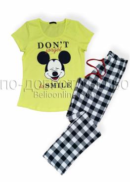 Дамска лятна пижама Иватекс 8006 с къс ръкав и дълга долница