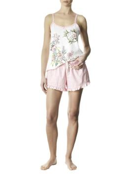 Дамска лятна пижама потник с тънки презрамки и къси панталони Pompea Eulalia