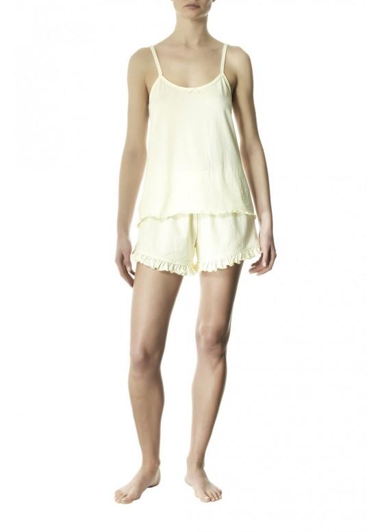 Дамска лятна пижама потник с тънки презрамки и къси панталони Pompea Tessa canarino