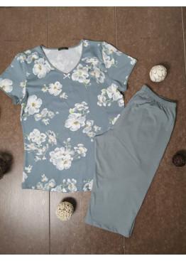 Дамска лятна пижама с 3/4 долнище Иватекс 3484 с големи размери до 4XL