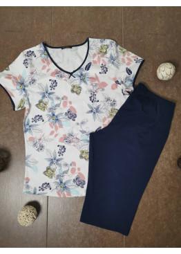 Дамска лятна пижама с 3/4 панталон Иватекс 3484 с големи размери до 4XL