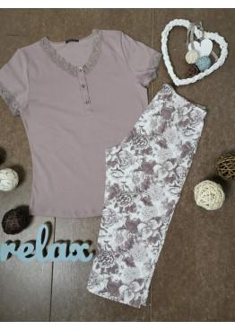 Дамска лятна пижама с къс ръкав и 7/8 долнище Иватекс 3322 в пепел