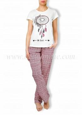 Дамска лятна пижама с къс ръкав и дълго долнище в Бохо стил 6060