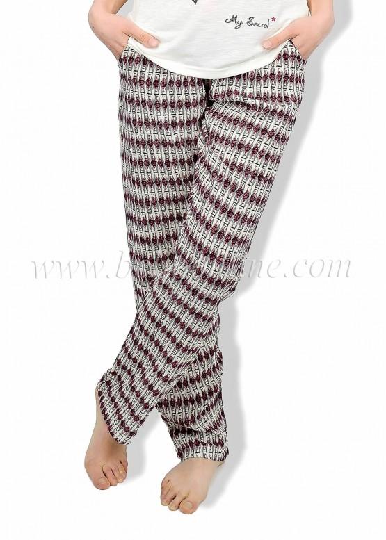 Дамска лятна пижама с къс ръкав и дълго долнище в Бохо стил 6082