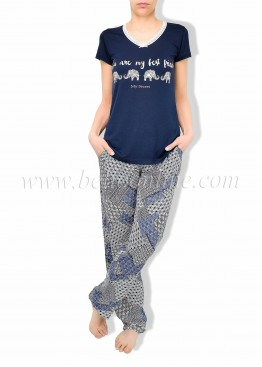 Дамска лятна пижама с къс ръкав и дълго долнище в Бохо стил 6083