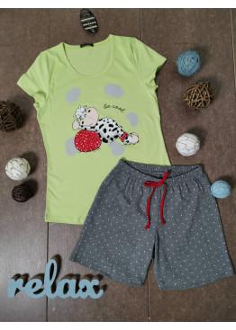 Дамска лятна пижама с къс ръкав и къси панталонки Иватекс 3330 с кравичка