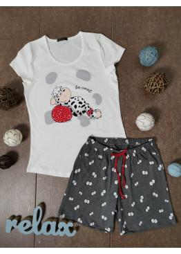 Дамска лятна пижама с къс ръкав и къси панталонки Иватекс 3330 в бяло с кравичка