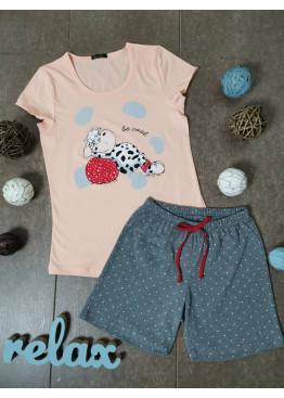 Дамска лятна пижама с къс ръкав и къси панталонки Иватекс 3330 в праскова с кравичка