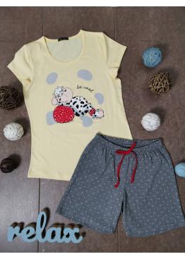 Дамска лятна пижама с къс ръкав и къси панталонки Иватекс 3330 в жълто с кравичка