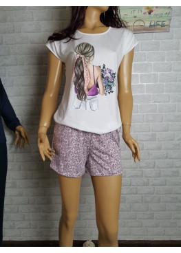 Дамска лятна пижама с къс ръкав и къси панталонки Иватекс 3333 в бяло