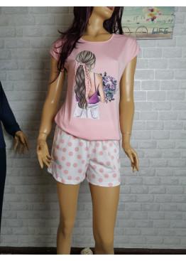 Дамска лятна пижама с къс ръкав и къси панталонки Иватекс 3333 в розово