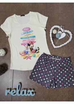 Дамска лятна пижама с къс ръкав и къси панталонки Иватекс 3340 с Мики Маус
