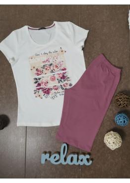 Дамска лятна пижама с къс ръкав и къси панталонки Иватекс 3343 в екрю