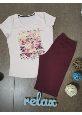 Дамска лятна пижама с къс ръкав и къси панталонки Иватекс 3343 в светло розово