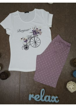 Дамска лятна пижама с къс ръкав и къси панталонки Иватекс 3348