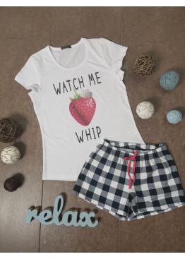 Дамска лятна пижама с къс ръкав и къси панталонки Иватекс 87096 в бяло