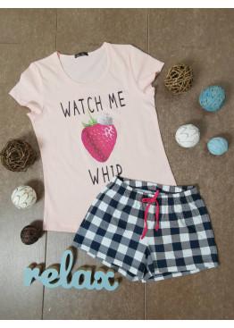 Дамска лятна пижама с къс ръкав и къси панталонки Иватекс 87096 в праскова